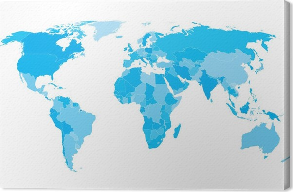 World map countries white outline cyan eps10 vector canvas print world map countries white outline cyan eps10 vector canvas print gumiabroncs Gallery