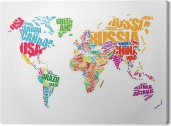 Political maps canvas prints the geographic motifs pixers world map in typography word cloud concept names of countries canvas print gumiabroncs Gallery