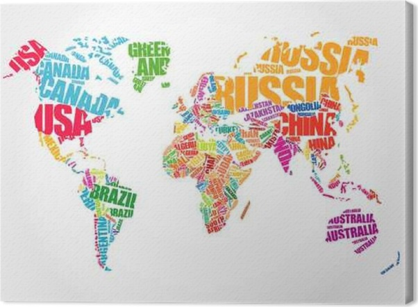 World map in typography word cloud concept names of countries world map in typography word cloud concept names of countries canvas print gumiabroncs Gallery