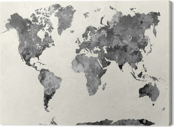 World map in watercolor gray canvas print pixers we live to change world map in watercolor gray canvas print other gumiabroncs Gallery