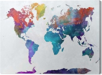 World map in watercolor poster pixers we live to change world map in watercolor canvas print gumiabroncs Gallery