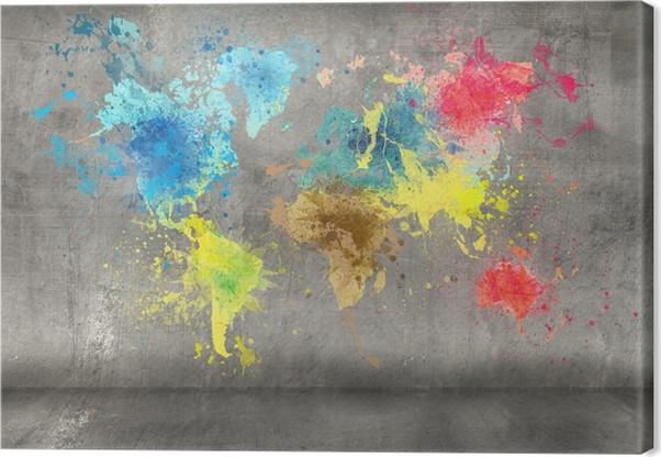 World map made of paint splashes on concrete wall background canvas world map made of paint splashes on concrete wall background canvas print gumiabroncs Choice Image