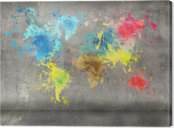 World map made of paint splashes on concrete wall background canvas world map made of paint splashes on concrete wall background canvas print gumiabroncs Gallery