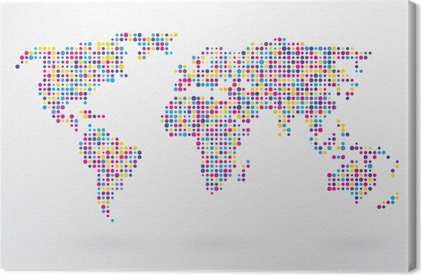 world map made up of small colorful dots canvas print