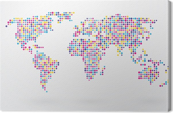 World map made up of small colorful dots canvas print pixers world map made up of small colorful dots canvas print gumiabroncs Choice Image