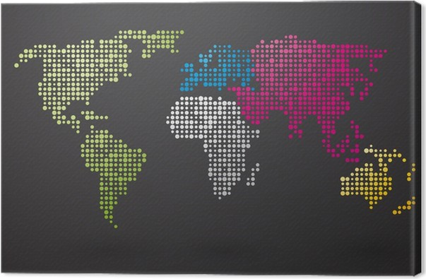 World map made up of small dots with distinct continents canvas world map made up of small dots with distinct continents canvas print gumiabroncs Image collections