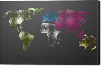 World map made up of small dots with distinct continents sticker world map made up of small dots with distinct continents canvas print gumiabroncs Images