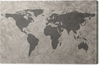 World map on Grunge Concrete Wall texture background Canvas Print