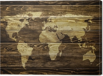 World map on wood background Canvas Print
