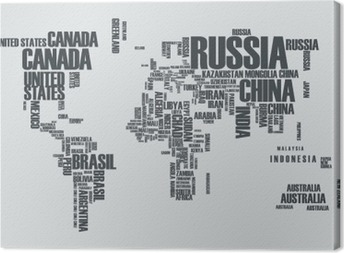 World map:the contours of the country consists of the words Canvas Print