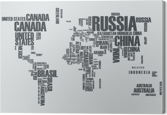 Russia canvas prints pixers world mapthe contours of the country consists of the words canvas print gumiabroncs Choice Image