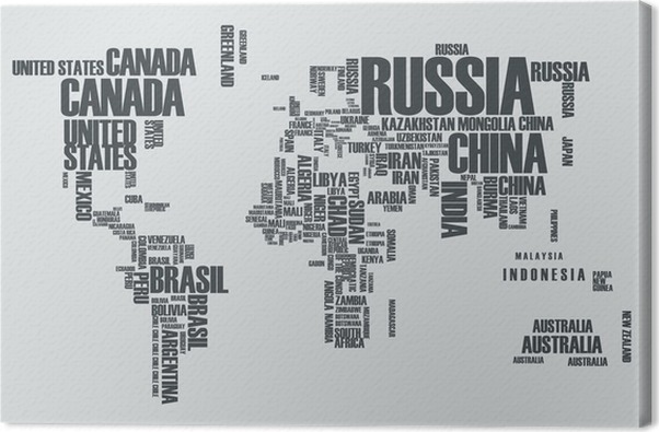 World mapthe contours of the country consists of the words canvas world mapthe contours of the country consists of the words canvas print teenage gumiabroncs Gallery