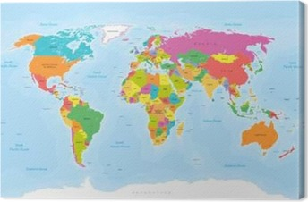 Political maps canvas prints the geographic motifs pixers world map vector englishus labels canvas print gumiabroncs Image collections