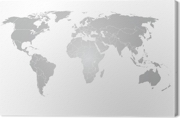 World Map Vector Grey Gradient Canvas Print Pixers We Live To - Grey world map canvas