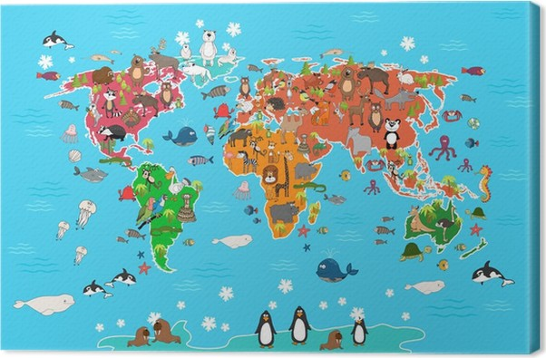 World map with animals monkey and hedgehog bear and kangaroo hare monkey and hedgehog bear and kangaroo hare wolf panda and penguin and parrot animals world map vector illustration in cartoon style canvas print gumiabroncs Choice Image