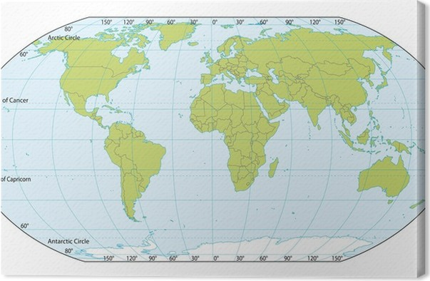 World map with coordinates. Actual version included South Sudan ...