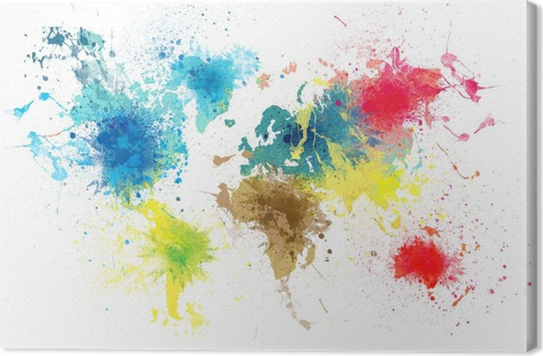 World map with paint splashes canvas print pixers we live to change world map with paint splashes canvas print gumiabroncs Choice Image