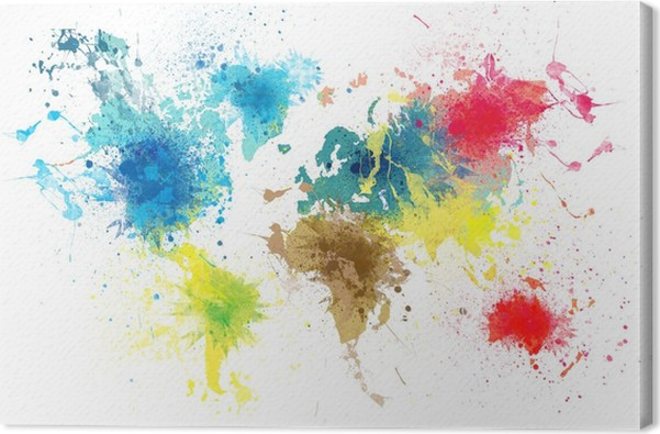 World map with paint splashes canvas print pixers we live to change world map with paint splashes canvas print gumiabroncs Gallery