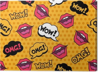 Wow! Seamless pattern in pop art comic style with speech bubbles Canvas Print