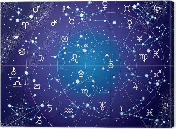 xii constellations of zodiac ultraviolet blueprint map canvas