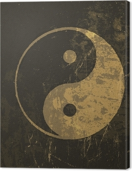 Yin yang grunge icon. With stained texture, vector Canvas Print