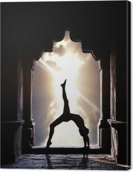 Yoga silhouette in temple Canvas Print