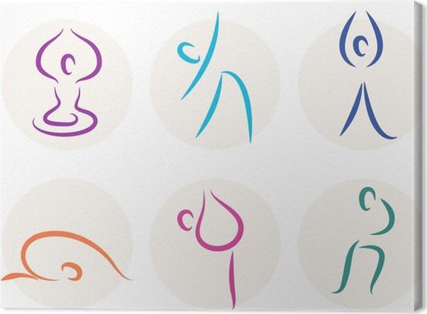 Yoga Stick Figure Icons Or Symbols Isolated On White Canvas Print