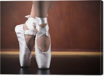 Young ballerina dancing, closeup Canvas Print