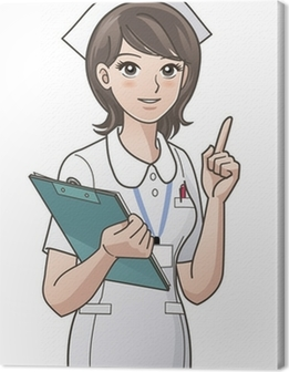 young nurse pointing the index finger up Canvas Print