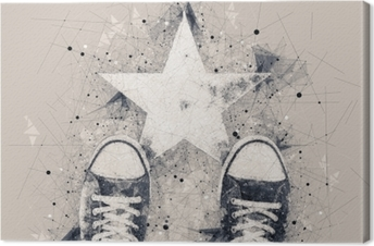 Young person on the road with star shape imprint Canvas Print