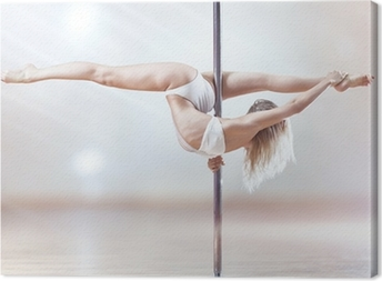 Young pole dance woman Canvas Print
