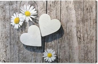 Zwei weiße Herzen & Gänseblümchen Canvas Print