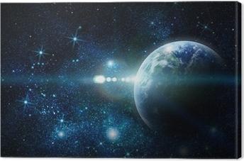 Canvas Realistisch planeet aarde in de ruimte