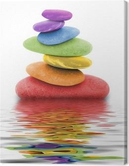 Canvas Regenboog zenkiezelstenen in het water
