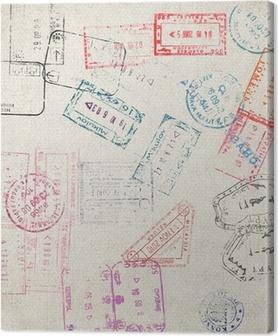 Canvas Reizen achtergrond met verschillende paspoortzegels