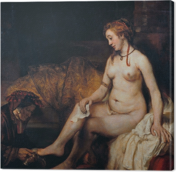 Canvas Rembrandt van Rijn - Bathseba met de brief van koning David - Reproducties