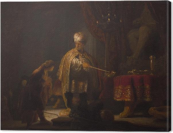 Canvas Rembrandt van Rijn - Daniël en Cyrus voor de afgod Bel - Reproducties