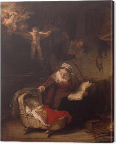 Canvas Rembrandt van Rijn - De Heilige Familie - Reproducties