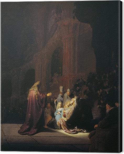 Canvas Rembrandt van Rijn - De lofzang van Simeon - Reproducties