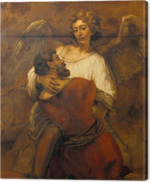 Canvas Rembrandt van Rijn - Jakob worstelend met de engel - Reproducties