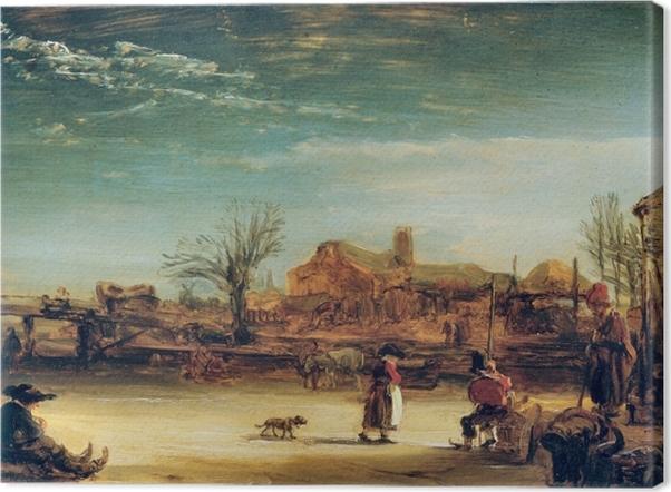 Canvas Rembrandt van Rijn - Winterlandschap - Reproducties