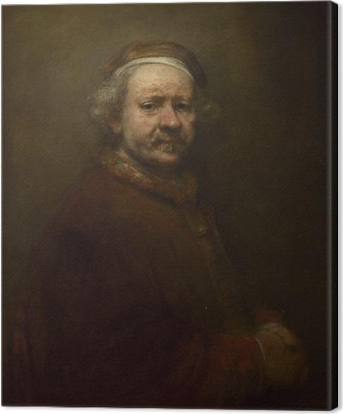 Canvas Rembrandt van Rijn - Zelfportret, geschilderd op 63-jarige leeftijd - Reproducties