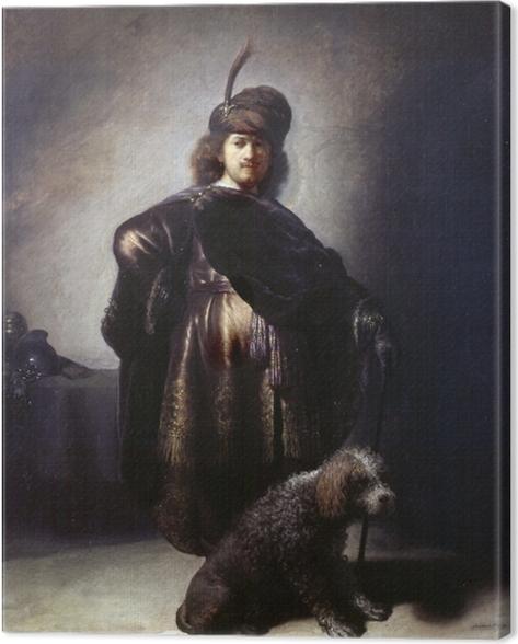 Canvas Rembrandt van Rijn - Zelfportret in oosterse kleding met poedel - Reproducties
