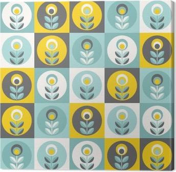 Canvas Retro bloemenpatroon, geometrische naadloze bloemen