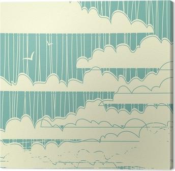 Canvas Retro grungy wolken achtergrond