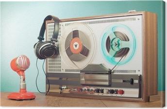 Canvas Retro haspel aan reel tape recorder, microfoon, hoofdtelefoon