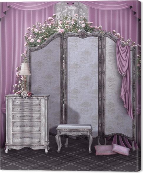 Canvas Retro kamer met een gordijn en roze gordijnen • Pixers® - We ...