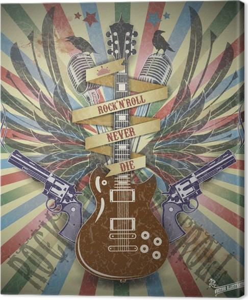 Canvas Rock N Roll Symboltro Stijl Achtergrond Pixers We