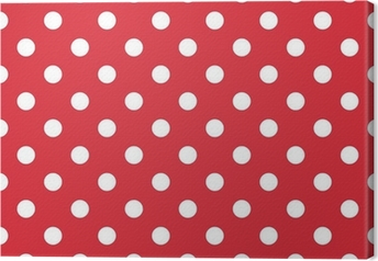 Canvas Rode achtergrond retro naadloze vector patroon polka dots