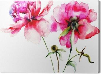 Canvas Rode pioen bloemen